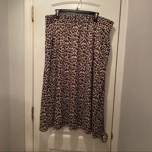 LOFT Plus Leopard Midi Skirt